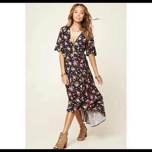 Forever21 floral wrap dress.  High/low, midi.